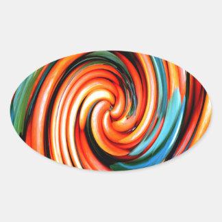 Orange Cyclone. Oval Sticker