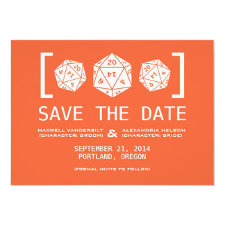 Orange D20 Dice Gamer Save the Date Invite