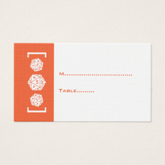 Orange D20 Dice Gamer Wedding Place Card