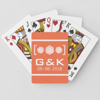 Orange D20 Dice Gamer Wedding Playing Cards