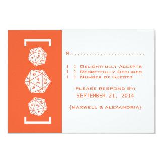 Orange D20 Dice Gamer Wedding Response Card Invite