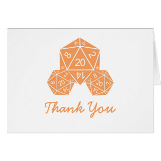 Orange D20 Dice Thank You Card Note Card