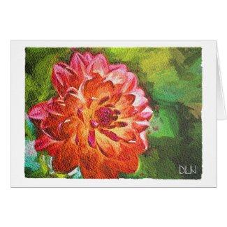 Orange Dahlia/Floral Art/Watercolor Look