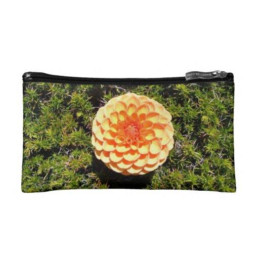 Orange Dahlia Flower Makeup Bags