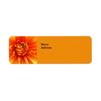 Orange Dahlia  Return Address Labels