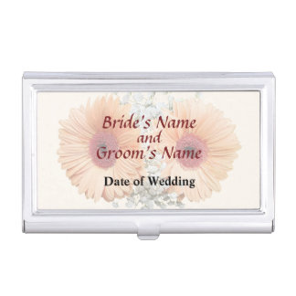 Orange Daisies and Stephanotis Wedding Products Business Card Case