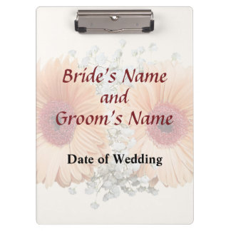 Orange Daisies and Stephanotis Wedding Products Clipboard