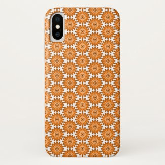 Orange daisies in 70s style iPhone x case