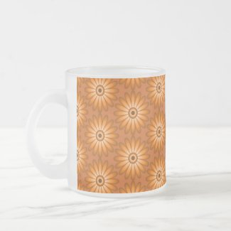 Orange daisies in 70s style Frosted Glass Coffee Mug
