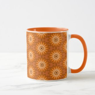 Orange daisies in 70s style mug