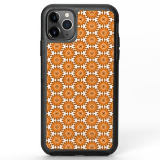 Orange daisies in 70s style OtterBox symmetry iPhone 11 pro max case