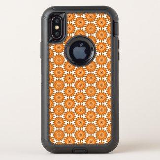 Orange daisies in 70s style OtterBox defender iPhone x case