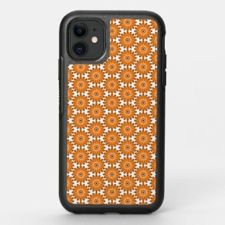 Orange daisies in 70s style OtterBox symmetry iPhone 11 case