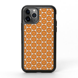 Orange daisies in 70s style OtterBox symmetry iPhone 11 pro case