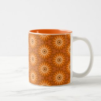Orange daisies in 70s style Two-Tone Coffee Mug