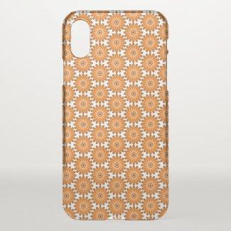 Orange daisies in 70s style iPhone x case