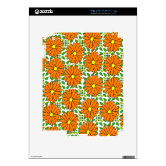 orange daisies on green leaves skins for the iPad 2