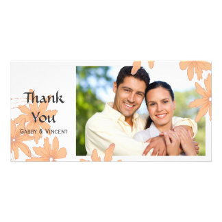 Orange Daisies on White Thank You Card