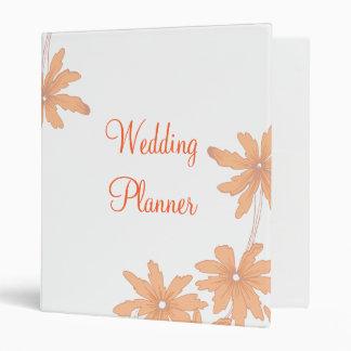 Orange Daisies on White Wedding 3 Ring Binder