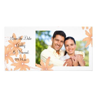 Orange Daisies on White Wedding Save the Date Card