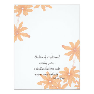 Orange Daisies Wedding Charity Favor Card