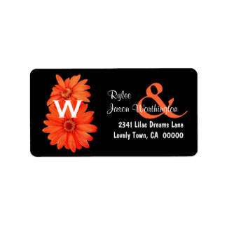 Orange Daisies Wedding Monogram B466 Label
