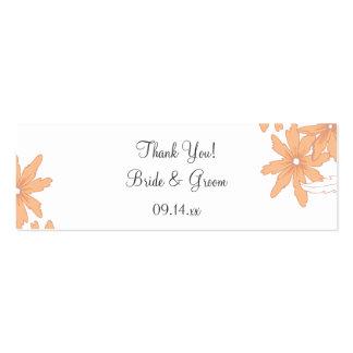 Orange Daisies Wedding Thank You Favor Tag Mini Business Card