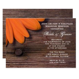 Orange Daisy and Barn Wood Couples Wedding Shower Card