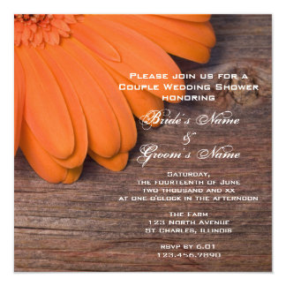 Orange Daisy and Barn Wood Couples Wedding Shower 5.25x5.25 Square Paper Invitation Card