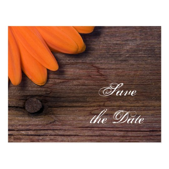 Orange Daisy and Barn Wood Wedding Save the Date Postcard