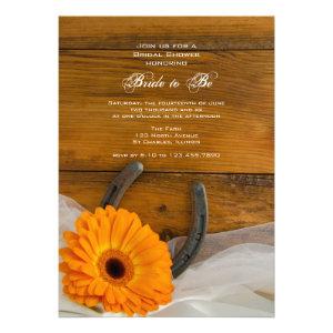 Orange Daisy and Horseshoe Country Bridal Shower Invites
