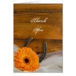 Orange Daisy and Horseshoe Country Thank You Note Greeting Card