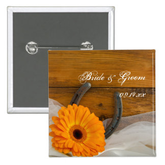 Orange Daisy and Horseshoe Country Wedding Button