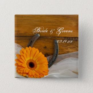 Orange Daisy and Horseshoe Country Western Wedding Button
