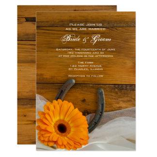 Orange Daisy and Horseshoe Country Western Wedding Card