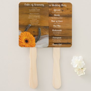 Wedding Themed Orange Daisy and Horseshoe Country Western Wedding Hand Fan