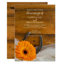 Orange Daisy and Horseshoe Country Western Wedding Invitation