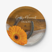 Orange Daisy and Horseshoe Country Western Wedding Paper Plate