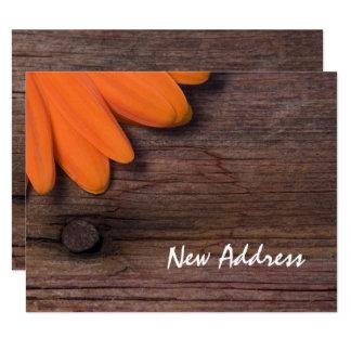 Orange Daisy and Rustic Barn Wood New Address Card