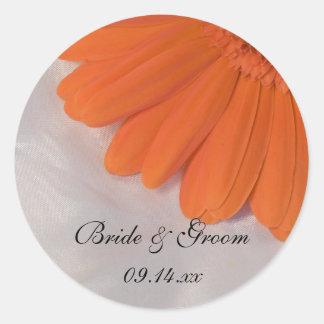 Orange Daisy and Satin Wedding Envelope Seals Classic Round Sticker
