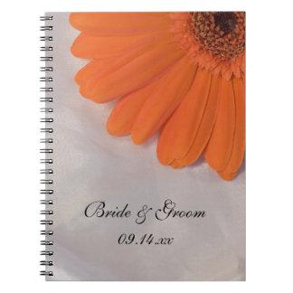 Orange Daisy and Satin Wedding Spiral Notebook
