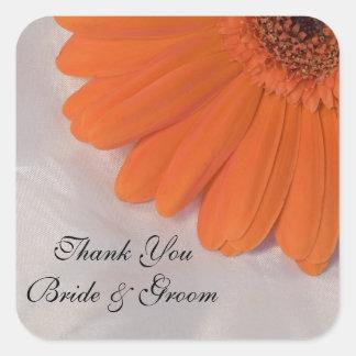 Orange Daisy and Satin Wedding Thank You Stickers