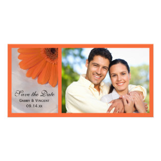 Orange Daisy and White Satin Wedding Save the Date Card