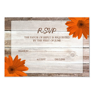"Orange Daisy Barn Wood Wedding RSVP Response Card 3.5"" X 5"" Invitation Card"