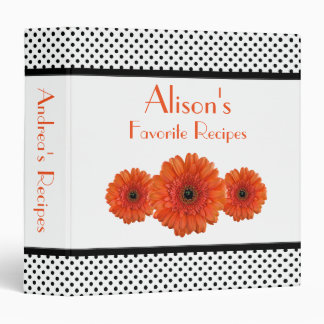Orange Daisy Black White Polka Dot Recipe Binder