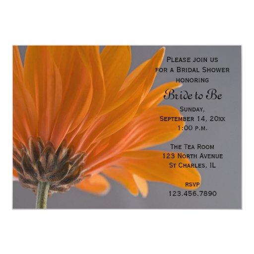 "Orange Daisy Bridal Shower Invitation 5"" X 7"" Invitation Card"