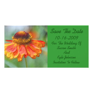 Orange Daisy Floral Wedding Save The Date Photo Card Template