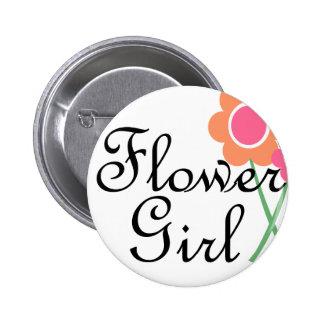 Orange Daisy Flower Girl Pin
