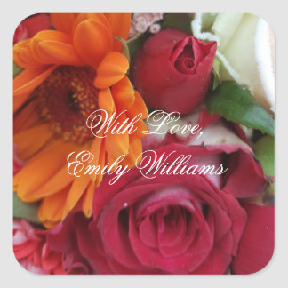 Orange Daisy Flower Red Roses Floral Bouquet Square Sticker