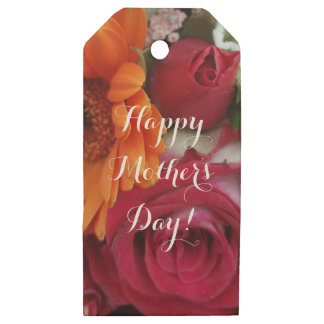 Orange Daisy Flower Red Roses Floral Bouquet Wooden Gift Tags
